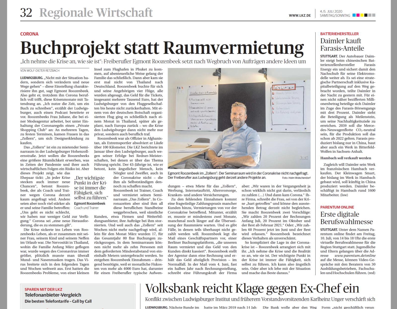 Artikel aus der Ludwigsburger Kreiszeitung über Egmont Roozenbeek und wie er mit der Corona Krise umgeht.